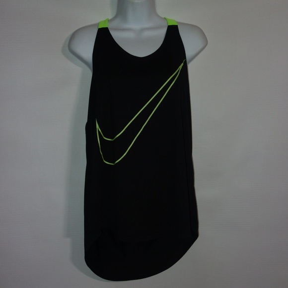 eece3c3b4ace Nike Running Singlet Tank Top Women XL Black Green.  M 5bdde071819e90d4cffaa368